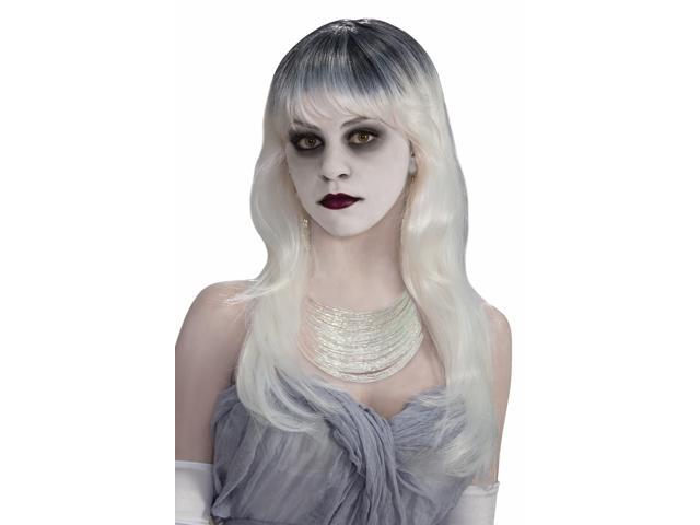 Haunted Long White Grey Costume Wig Adult One Size