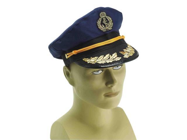 Blue Navy Captain Adult Costume Hat One Size