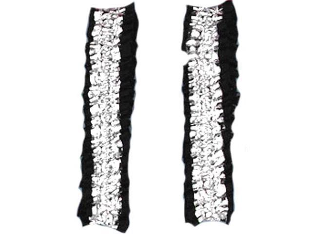 Roaring 20's Shiny Silver And Black Costume Garters Or Armbands One Size