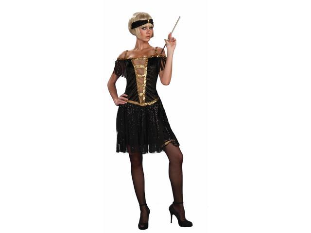 Roaring 20's Flapper Gold & Black Dress Costume Adult X-Small/Small