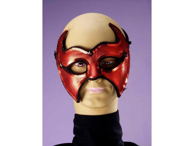Red Sequin Devil Mardi Gras Costume Half Mask One Size