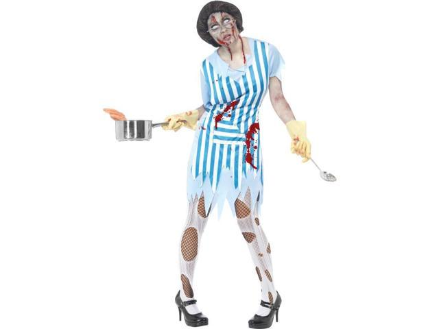 High School Horror Zombie Lunch Lady Costume Adult Small