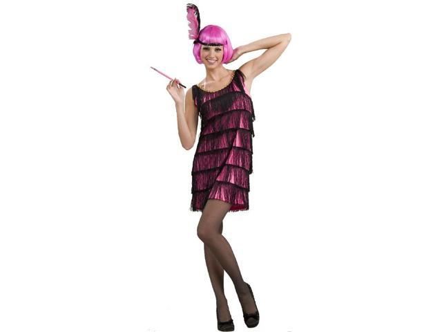 Jazzy Pink Roaring 20's Flapper Costume Dress Adult X-Small/Small