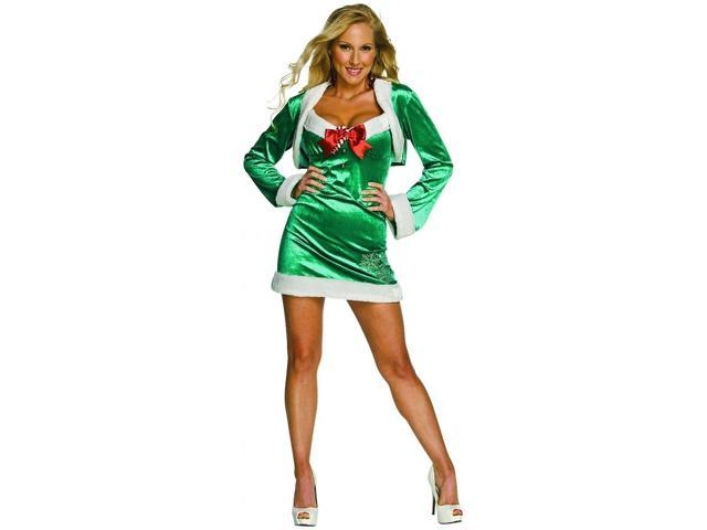 Sexy Snow Flirt Elf Christmas Green Dress Adult Costume Medium