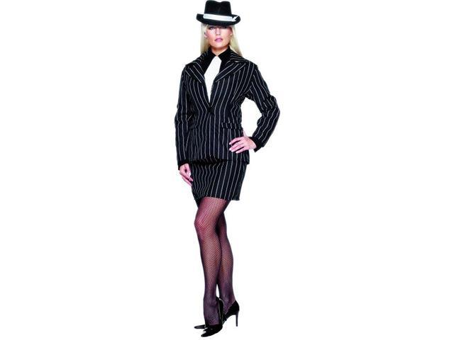 Black Pin Striped Gangster 20's Lady Zoot Suit Dress Costume Adult Medium