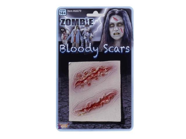 Two Zombie Prosthetic Bloody Scar Wounds Costume Accessory