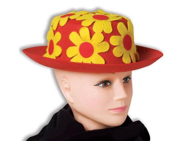 Red & Yellow Daisy Clown Hat Derby Costume Accessory
