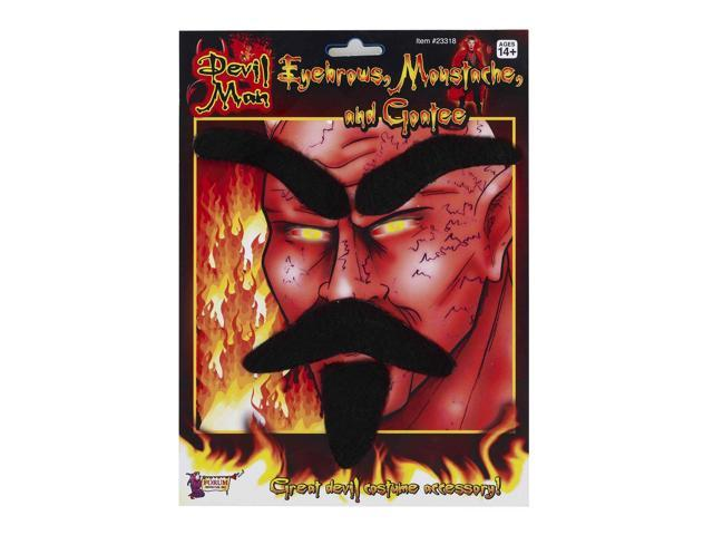 Devil Eyebrows, Moustache & Goatee Costume Accessory Set