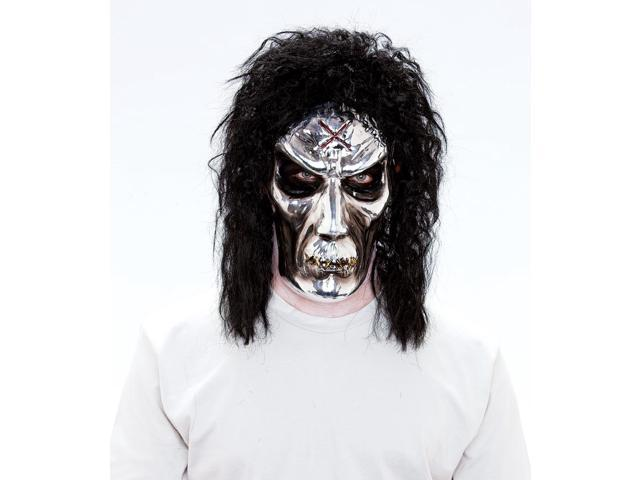 Maniacs PVC Molded Metallic Zombie w Black Hair Adult Costume Mask