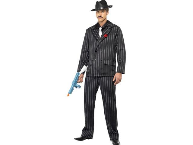 Black Pin Striped Gangster 20's Zoot Suit Costume Adult Medium