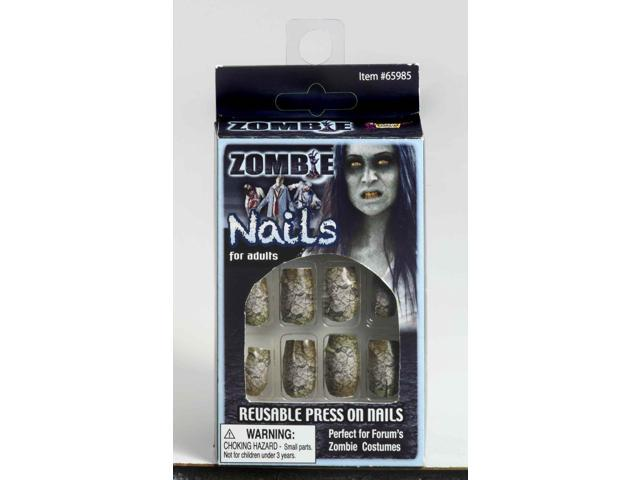 Zombie Press On Nails Costume Accessory