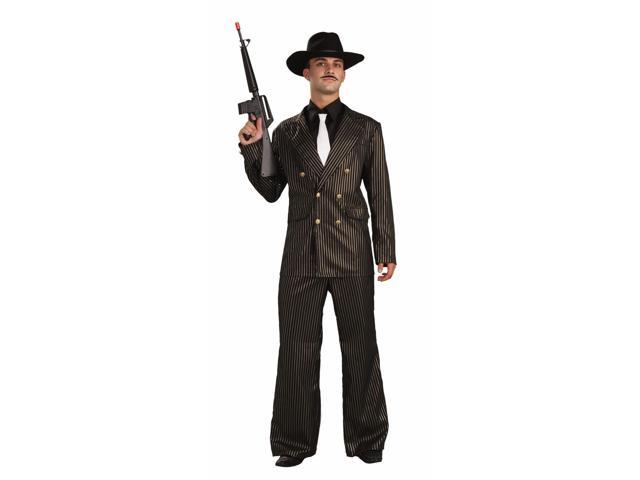 Adult Large Gangster Black Gold Costume Zoot Suit 42-44