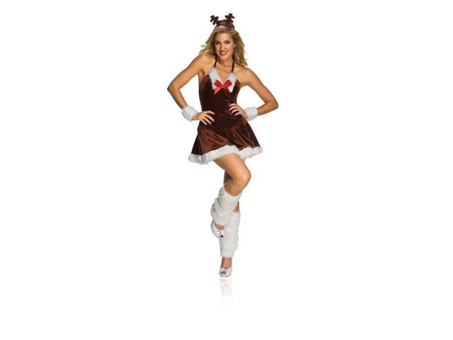 Sexy Christmas Festive Female Reindeer Adult Costume Small