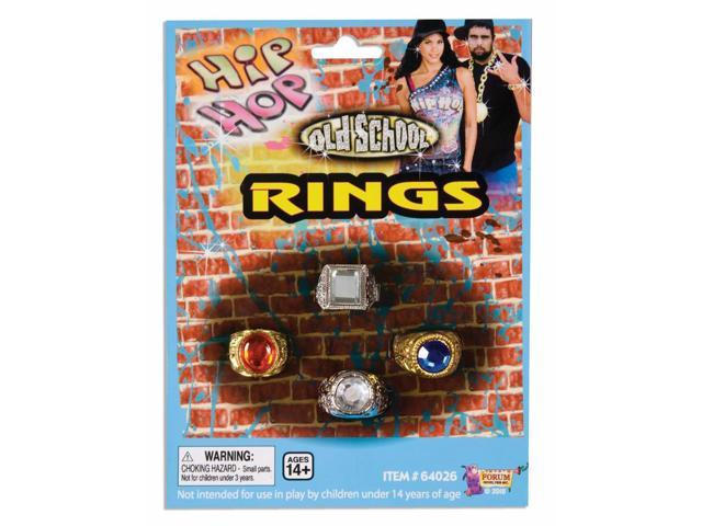 4 Piece Bling Plastic Costume Ring Set