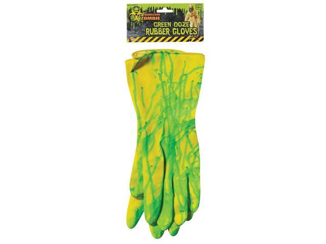 Biohazard Adult Costume Rubber Gloves With Ooze One Size