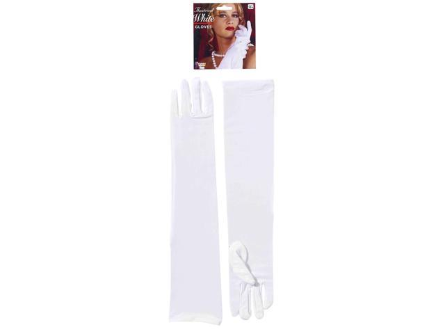 Glamorous White Elbow Length Adult Nylon Costume Gloves One Size