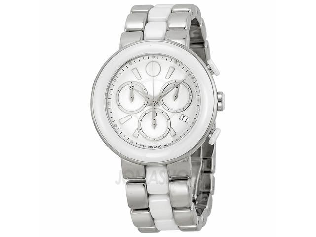 Movado Chronograph White Dial White Ceramic Ladies Watch 0606758