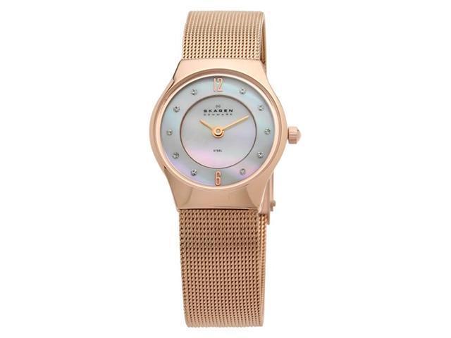 Skagen Slimline Mesh Crystal Rose Gold-tone Steel Mini Ladies Watch 233XSRR