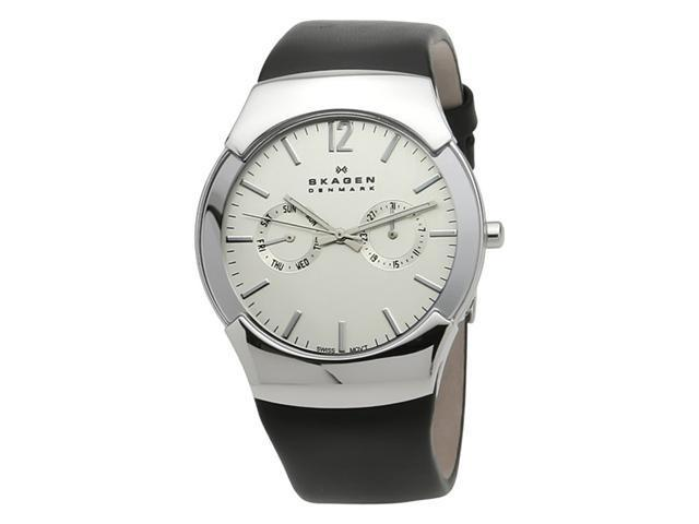 Skagen Swiss Steel and Black Mens Swiss Watch 583XLSLC