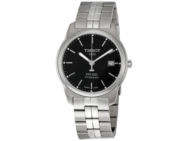 Tissot PR100 Black Dial Titanium Mens Watch T0494104405100