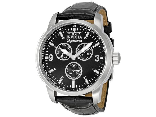 Invicta Signature II Black Leather Mens Watch 7339
