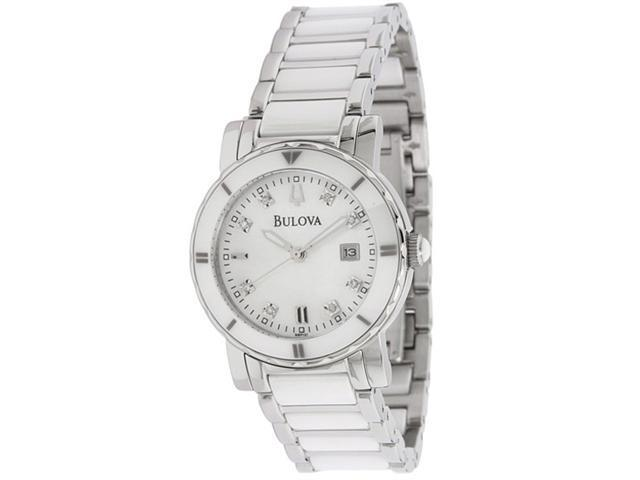 Bulova Ceramic and Steel Bracelet Mother-of-pearl Dial Women's watch #98P121