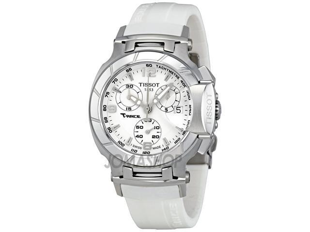 Tissot T-Race Chronograph White Rubber Strap Ladies Watch T0482171701700