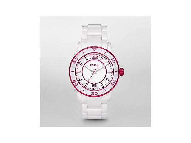 Fossil White Dial White and Magenta Ceramic Bracelet Ladies Watch CE1051
