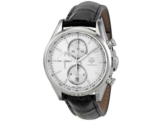 Tag Heuer Carrera Chronograph Silver Dial Leather Mens Watch CAR2111.FC6266