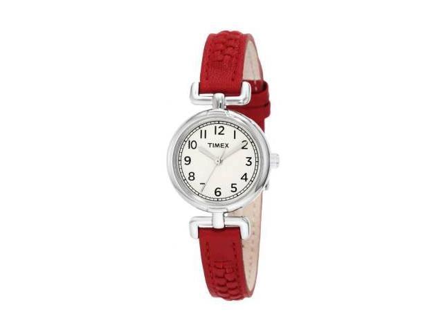 Timex Weekender Petite Casual Red Leather Strap Ladies Watch T2N661