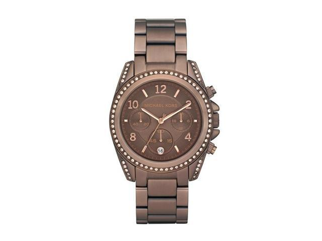 Michael Kors Mercer Champagne Dial Brown Leather Ladies Watch MK2251