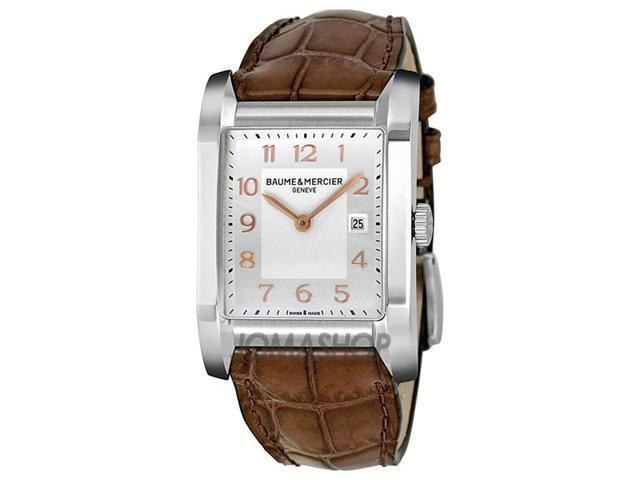 Baume and Mercier Silver Dial Brown Leather Ladies Watch 10018