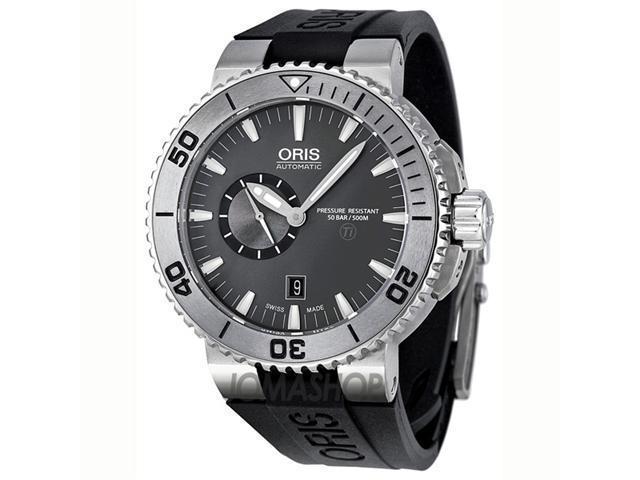 Oris Aquis Grey Dial Rubber Automatic Mens Watch 743-7664-7253RS