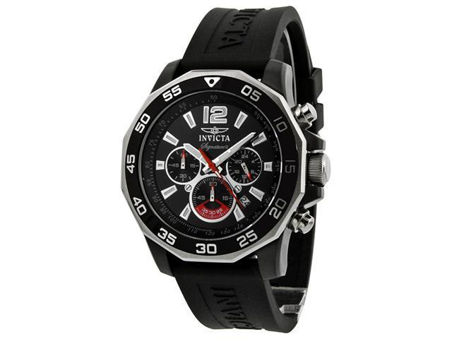 Invicta Signature II Chrono Nautical Black Dial Black Rubber Mens Watch 7433