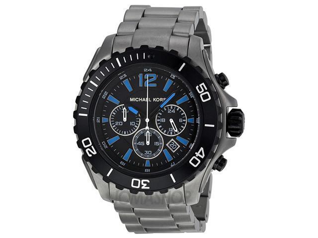 Michael Kors MK8231 Stainless Steel Chronograph Quartz Black Dial Blue Hour Markers