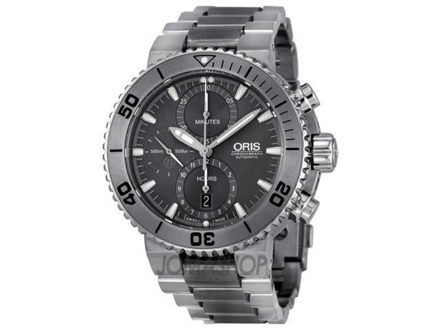 Oris Aquis Chrono Grey Dial Titanium Mens Watch 01 674 7655 7253-07 8 26 75PEB