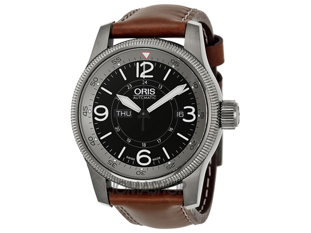 Oris Big Crown Timer Black Dial Brown Leather Mens Watch 735-7660-4264LS