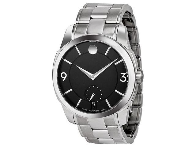 Movado LX Black Dial Stainless Steel Mens Watch 0606626