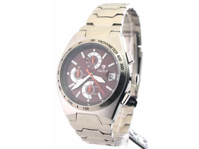 Mens Croton Steel Chrono Tachymeter Watch CC311282SSBR