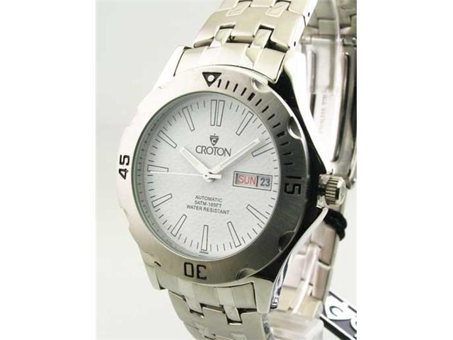Mens Croton Steel Automatic Day Date Watch CA301086SSWH