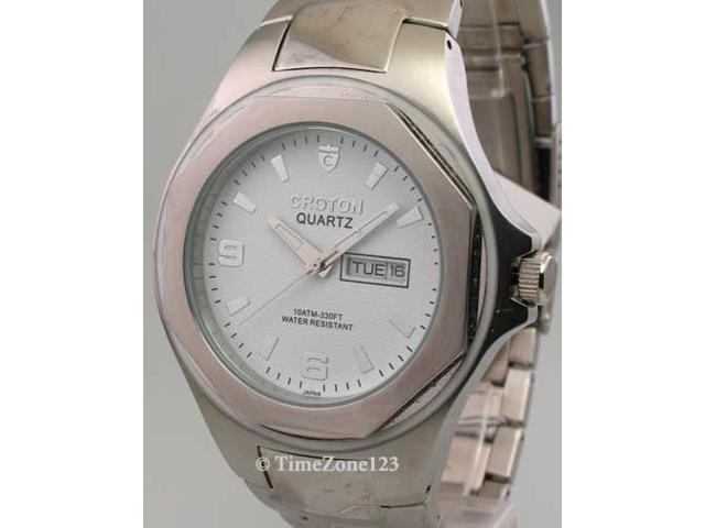Mens Croton Steel Day Date Watch CA301100SSDW