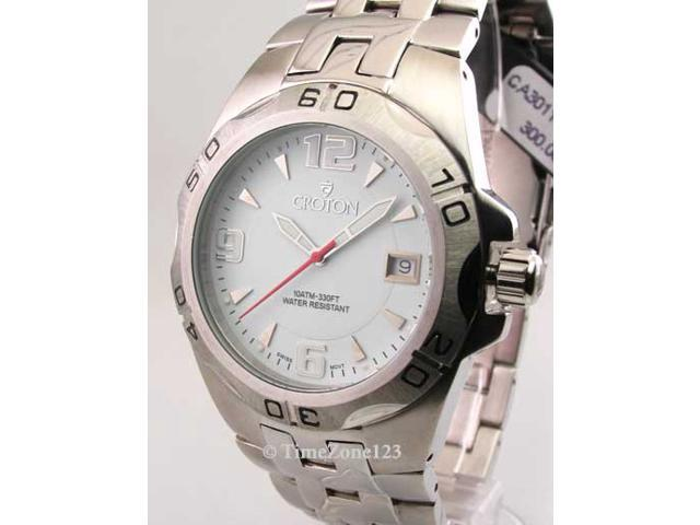 Mens Croton Steel Swiss 10 Atm Date New Watch CA301149SSDW