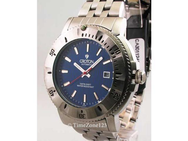 Mens Croton Steel Automatic 10 Atm Date New Watch CA301124SSBL