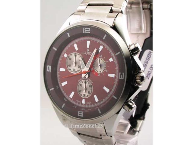 Mens Croton Steel Chrono Tachymeter Watch CC311239SSBR