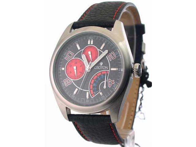 Mens Croton Leather Day Date 24 Hr Time Watch CN307161BSRD