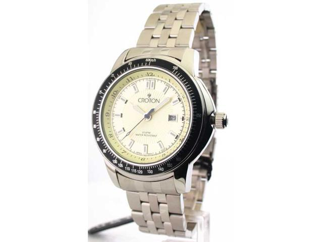Mens Croton Steel Diver 10 Atm Date Watch CA301188SSYL