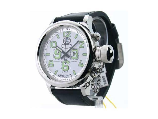 Mens Invicta Leather Russian Diver Chrono Swiss Date Watch 7001