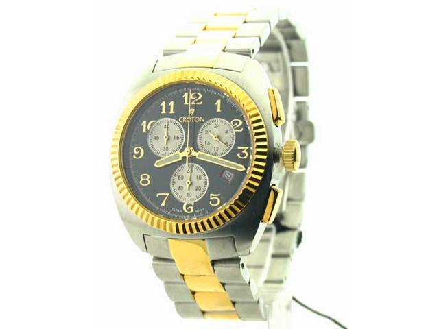 Mens Croton Steel Two Tone Chrono 3 Eye Date Watch CC311293TTBK