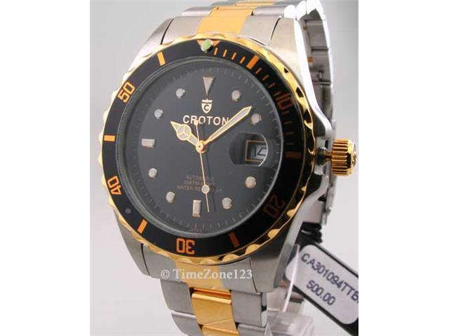 Mens Croton Steel Automatic Date Watch CA301094TTBK