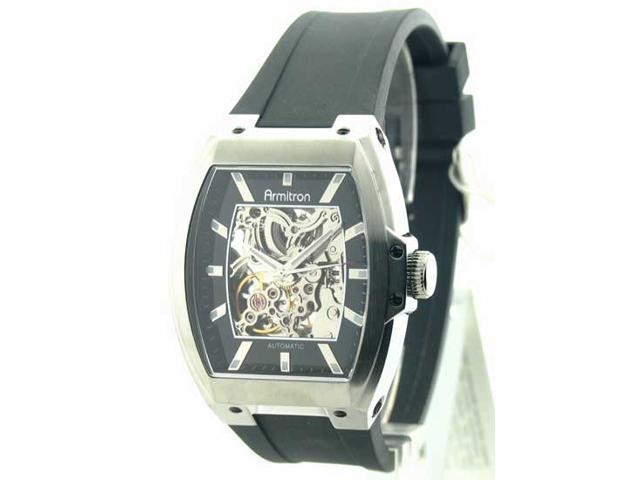 Mens Armitron Rubber Automatic Watch 20-4521SVBK